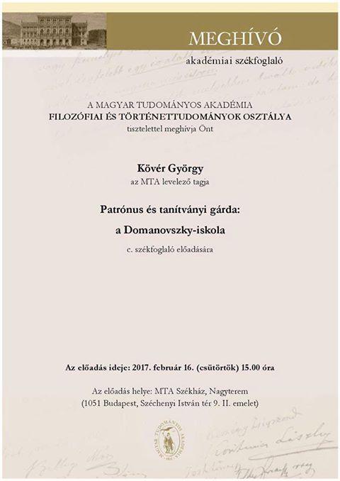Dr. Kövér György székfoglaló előadása